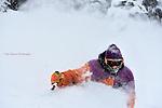 Wolf Creek Ski School Director Jon King  ripping up  deep December powder