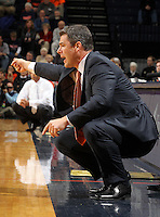 Dec. 20, 2010; Charlottesville, VA, USA; Virginia Cavaliers head coach Tony Bennett reacts to a play during the game against the Norfolk State Spartans at the John Paul Jones Arena. Mandatory Credit: Andrew Shurtleff
