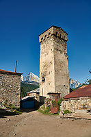 Stone medieval Svaneti tower houses of Lashtkhveri village in the Caucasus mountains, Upper Svaneti, Samegrelo-Zemo Svaneti, Mestia, Georgia.  A UNESCO World Heritage Site.