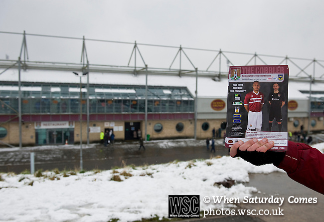 Northampton Town 1 Oxford United 0, 23/03/2013. Sixfields, League Two. Oxford United are the visitors to Sixfields as the long British winter continues in Northamptonshire. The matchday programme. Photo by Simon Gill