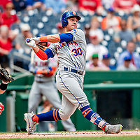 1 August 2018: New York Mets outfielder Michael Conforto at bat against the Washington Nationals at Nationals Park in Washington, DC. The Nationals defeated the Mets 5-3 to sweep the 2-game weekday series. Mandatory Credit: Ed Wolfstein Photo *** RAW (NEF) Image File Available ***