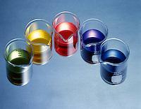 ACID-BASE PROPERTIES OF SALTS W/pH INDICATOR<br /> Universal Indicator<br /> 0.10M solutions left to right: Sodium Chloride (NaCl) pH=7, Ammonium Chloride (NH4Cl) pH=5.1, Aluminum Chloride (AlCl3) pH=2.9, Sodium Cyanide (NaCN) pH=11.15, Ammonium Carbonate (NH4)2CO3 pH=9-10.