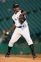 Louisville starting pitcher Elizardo Ramirez (45) in action versus Indianapolis at Louisville Bats Field in Louisville, KY, Wednesday, August 8, 2007.