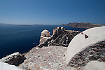 Old church and fort on a rocky outcroppping in Oia, Santorini