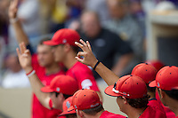 Stony Brook Seawolves dugout during the continuation of their suspended NCAA Super Regional baseball game against LSU on June 9, 2012 at Alex Box Stadium in Baton Rouge, Louisiana. LSU defeated Stony Brook 5-4 in 12 innings. (Andrew Woolley/Four Seam Images)