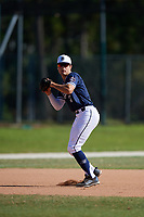 G Allen during the WWBA World Championship at the Roger Dean Complex on October 21, 2018 in Jupiter, Florida.  G Allen is a third baseman from Little Rock, Arkansas who attends Little Rock Christian Academy and is committed to TCU.  (Mike Janes/Four Seam Images)