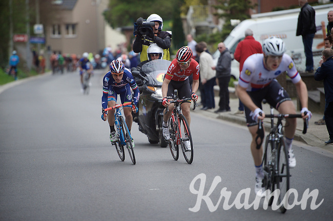 Enrico Gasparotto (ITA/Wanty-Groupe Gobert) tries to make the jump to race leader Petr Vakoc (CZE/Etixx-QuickStep) on the last climb towards the finish. He won't succeed in overtaking him, but this move does distance him from (eventually) 3rd place finisher Tony Gallopin (FRA/Lotto-Soudal).<br /> <br /> 56th De Brabantse Pijl - La Flèche Brabançonne (1.HC)