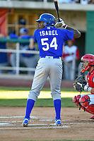Ibandel Isabel (54) of the Ogden Raptors at bat against the Orem Owlz in Pioneer League action at Home of the Owlz on June 25, 2016 in Orem, Utah. Orem defeated Ogden 4-1.  (Stephen Smith/Four Seam Images)