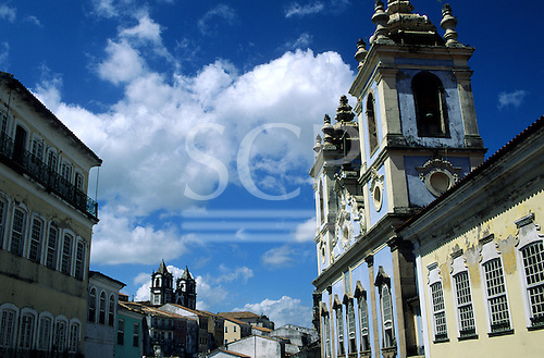 Salvador, Bahia State, Brazil. Colonial buildings in pastel colours on a sunny day in Pelourinho.