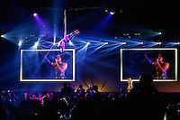 LONDON, ENGLAND - NOVEMBER 01:  Singer Laura Wright and an acrobat entertain the guests during the World Rugby Awards 2015 at Battersea Evolution on November 1, 2015 in London, England.  (Photo: World Rugby)