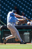 North Carolina Tar Heels third baseman Colin Moran #18 swings the bat against the California Golden Bears in the NCAA baseball game on March 2nd, 2013 at Minute Maid Park in Houston, Texas. North Carolina defeated Cal 11-5. (Andrew Woolley/Four Seam Images).