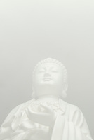 AVAILABLE DIRECTLY FROM JEFF AS A FINE ART PRINT.<br /> <br /> AVAILABLE FROM FROM GETTY IMAGES FOR COMMERCIAL AND EDITORIAL LICENSING.  Please go to www.gettyimages.com and search for image # 83397180.<br /> <br /> Buddhist Statue - Upward View of a Statue of the Buddhist Goddess Quan Yin, Displayed in the Window of a Buddhist Temple, East Broadway, Chinatown, New York City, New York State, USA