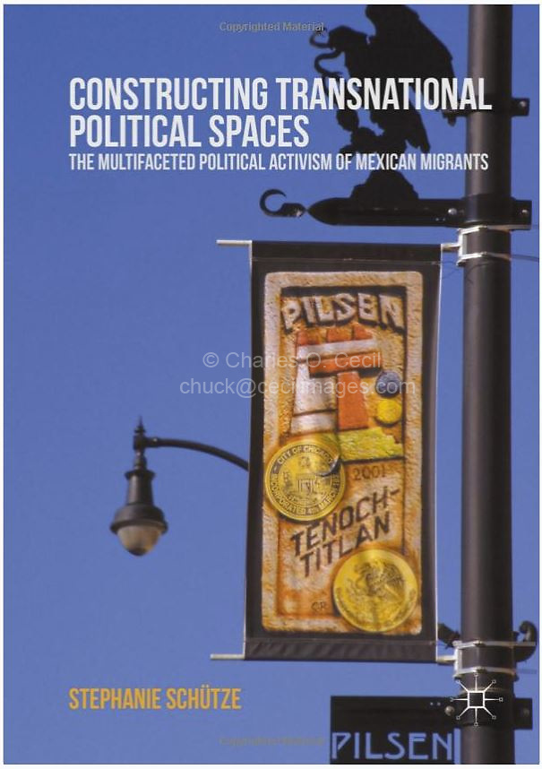 Chicago, Illinois, U.S.A. - Pilsen, Mexican American Neighborhood, 18th Street Lamp Post, Banner, Eagle, Snake Emblem. IMAGE OF COVER IS NOT FOR SALE. Shown here as examples of photographer's portfolio. Original images may be licensed for certain purposes. Please inquire.