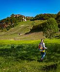 Frankreich, Bourgogne-Franche Comté, Département Jura, Château-Chalon: klassifiziert als eines der Plus beaux villages de France (Schoensten Doerfer Frankreichs), bekannt für den Vin Jaune aus der Weinbauregion Château-Chalon | France, Bourgogne-Franche Comté, Jura Department, Château-Chalon:  classified as one of France's most beautiful villages, famous for Vin Jaune of winegrowing region Château-Chalon