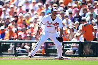 Baltimore Orioles first baseman Chris Davis (19) during a Spring Training game against the Detroit Tigers on March 4, 2015 at Ed Smith Stadium in Sarasota, Florida.  Detroit defeated Baltimore 5-4.  (Mike Janes/Four Seam Images)