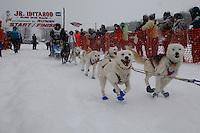 Ilsa Schwarzburg of Wasilla leaves the start line of the 2009 Junior Iditarod on Knik Lake on Saturday Februrary 28, 2009.