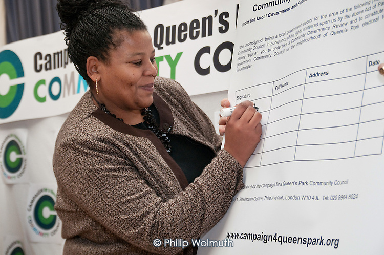 Campaign Chair Angela Singhate Chair at the launch of the Campaign for a Queen's Park Community Council at the Beethoven Centre, West London.