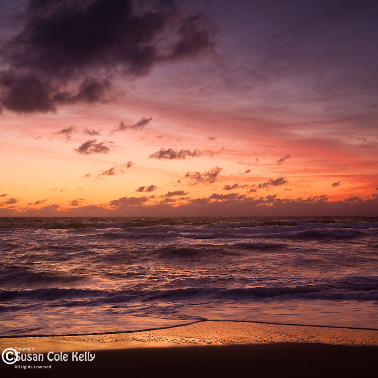 A scarlet sunrise in the Cape Cod National Seashore, Eastham, MA, USA