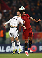 Football Soccer: UEFA Champions League AS Roma vs Qarabag FK Stadio Olimpico Rome, Italy, December 5, 2017. <br /> Qarabag's Afran Ismayilov (l) in action with Roma's Aleksandar Kolarov (r) during the Uefa Champions League football soccer match between AS Roma and Qarabag FK at at Rome's Olympic stadium, December 05, 2017.<br /> UPDATE IMAGES PRESS/Isabella Bonotto