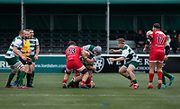 Kieran Murphy of Ealing Trailfinders is tackled by Aaron Penberthy of Jersey Reds during the Championship Cup Quarter final match between Ealing Trailfinders and Jersey Reds at Castle Bar , West Ealing , England  on 22 February 2020. Photo by Alan  Stanford / PRiME Media Images.