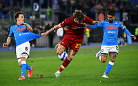 Calcio, Serie A: AS Roma vs SSC Napoli, Olympic stadium, October 24, 2021.<br /> Roma's  Nicolo' Zaniolo (C) in action with Napoli's Lorenzo Insigne (R) and Fabian Rui (L) during the Italian Serie A football match between Roma and Napoli at Rome's Olympic stadium, on , October 24, 2021. <br /> UPDATE IMAGES PRESS/Isabella Bonotto