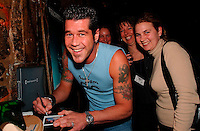March 19, 2003, Montreal, Quebec, Canada<br /> <br />  Emmanuel Auger (R) lancement dvd<br /> Le Pen