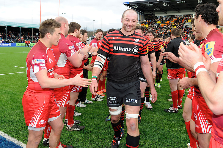 20130303 Copyright onEdition 2013©.Free for editorial use image, please credit: onEdition..Steve Borthwick of Saracens is applauded off the pitch after the Premiership Rugby match between Saracens and London Welsh at Allianz Park on Sunday 3rd March 2013 (Photo by Rob Munro)..For press contacts contact: Sam Feasey at brandRapport on M: +44 (0)7717 757114 E: SFeasey@brand-rapport.com..If you require a higher resolution image or you have any other onEdition photographic enquiries, please contact onEdition on 0845 900 2 900 or email info@onEdition.com.This image is copyright onEdition 2013©..This image has been supplied by onEdition and must be credited onEdition. The author is asserting his full Moral rights in relation to the publication of this image. Rights for onward transmission of any image or file is not granted or implied. Changing or deleting Copyright information is illegal as specified in the Copyright, Design and Patents Act 1988. If you are in any way unsure of your right to publish this image please contact onEdition on 0845 900 2 900 or email info@onEdition.com