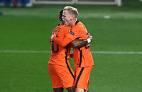 Netherlands's Donny van de Beek, right, celebrates with his teammate Memphis Depay after scoring during the UEFA Nations League football match between Italy and Netherlands at Bergamo's Atleti Azzurri d'Italia stadium, October 14, 2020.<br /> UPDATE IMAGES PRESS/Isabella Bonotto