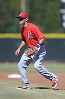 Los Angeles Angels second baseman Kody Eaves (21) during an Instructional League game against the Milwaukee Brewers on October 11, 2013 at Tempe Diablo Stadium Complex in Tempe, Arizona.  (Mike Janes/Four Seam Images)