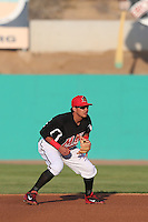 Edwin Garcia (24) of the High Desert Mavericks in the field during a game against the Inland Empire 66ers at Mavericks Stadium on May 6, 2015 in Adelanto, California. Inland Empire defeated High Desert, 10-4. (Larry Goren/Four Seam Images)