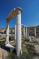 Picture of the ruins of columns in the ruins of the The Church of the Sepulchre, Roman 1st century AD. Hierapolis archaeological site near Pamukkale in Turkey.