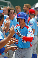 Tennessee Smokies outfielder Jacob Hannemann (19) being congratulated by teammates after hitting a grand slam during a game against the Jacksonville Suns at Bragan Field on the Baseball Grounds of Jacksonville on June 13, 2015 in Jacksonville, Florida.  Tennessee defeated Jacksonville 12-3. (Robert Gurganus/Four Seam Images)