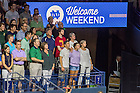 August 19, 2016; First year students and their families sing the Alma Mater at the close of the Official University Welcome Event, Welcome Weekend 2016. (Photo by Matt Cashore/University of Notre Dame)