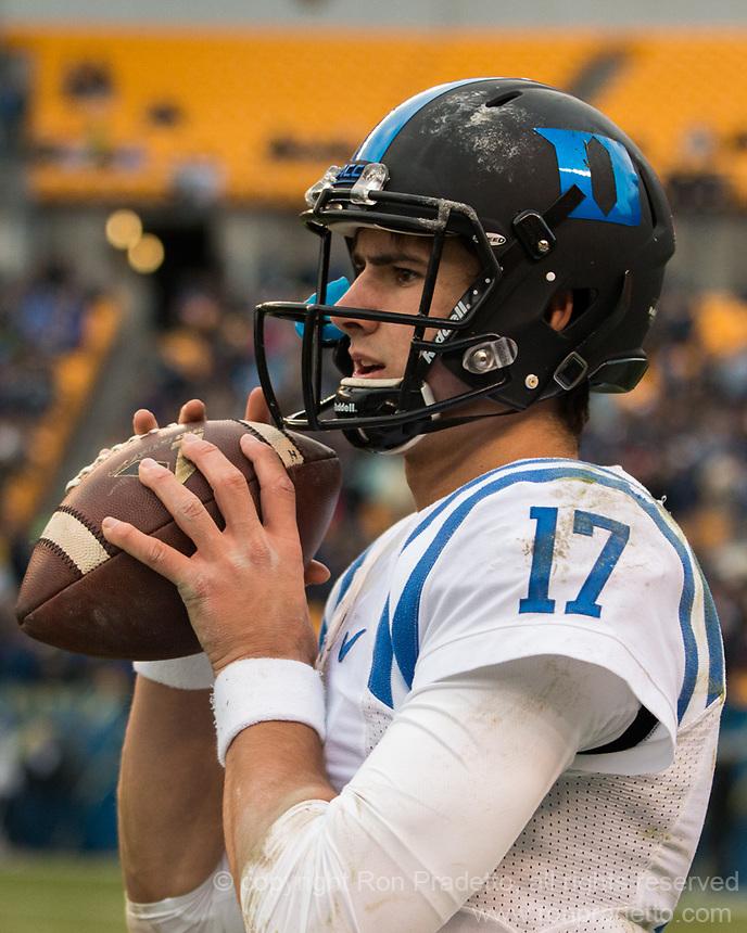 Duke quarterback Daniel Jones. The Pitt Panthers defeated the Duke Blue Devils 56-14 at Heinz Field in Pittsburgh, Pennsylvania on November 19, 2016.