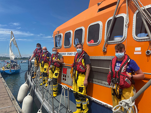 The Courtmacsherry RNLI Lifeboat crewmembers under Coxswain Kevin Young after they arrived back to base
