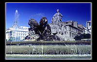 Fountain of Cibeles, Plaza de Cibeles, Madrid, Spain - September 1990 -<br /> <br /> Named after Cybele (or Ceres) Roman goddess of nature, is seen as one of Madrid's most important symbols. Built in the reign of Charles III (1759 to 1788) and designed by Ventura Rodríguez between 1777 and 1782.