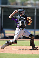 Colorado Rockies catcher Dustin Garneau (13) during an instructional league game against the Los Angels Angels of Anaheim on September 30, 2013 at Tempe Diablo Stadium Complex in Tempe, Arizona.  (Mike Janes/Four Seam Images)