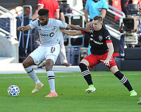 WASHINGTON, DC - NOVEMBER 8: Anthony Jackson-Hamel #11 of Montreal Impact battles for the ball with Russell Canouse #4 of D.C. United during a game between Montreal Impact and D.C. United at Audi Field on November 8, 2020 in Washington, DC.