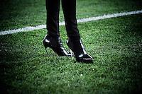 """I """"tacchetti"""" di Ilaria D'Amico nel prepartita di  Napoli - Juventus.Napoli 01/03/2013 Stadio San Paolo di Napoli.Football Calcio Serie A  2012/13.Napoli vs Juventus.Foto Insidefoto Federico Tardito"""
