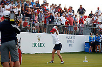 5th September 2021; Toledo, Ohio, USA;  Austin Ernst of Team USA hits her tee shot at the first hole during the morning Four-Ball competition during the Solheim Cup on September 5, 2021 at Inverness Club in Toledo, Ohio. (Photo by Brian Spurlock/Icon Sportswire)