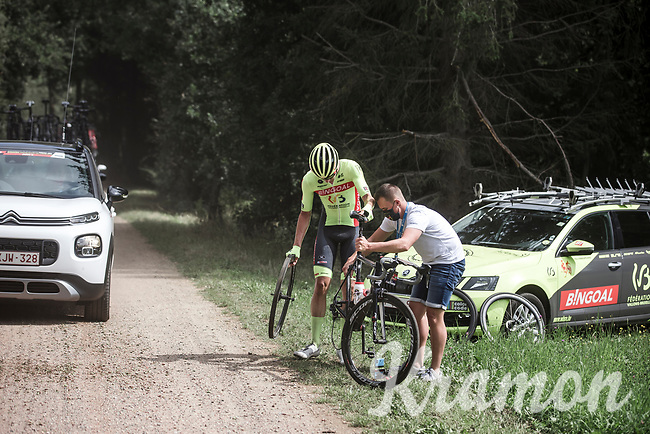 Ludovic Robeet (BEL/Bingoal WB) with mechanical assistance after having a flat tire.<br /> <br /> Dwars Door Het Hageland 2020<br /> One Day Race: Aarschot – Diest 180km (UCI 1.1)<br /> Bingoal Cycling Cup 2020