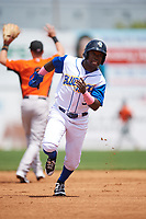 Wilmington Blue Rocks second baseman D.J. Burt (3) running the bases during the first game of a doubleheader against the Frederick Keys on May 14, 2017 at Daniel S. Frawley Stadium in Wilmington, Delaware.  Wilmington defeated Frederick 10-2.  (Mike Janes/Four Seam Images)