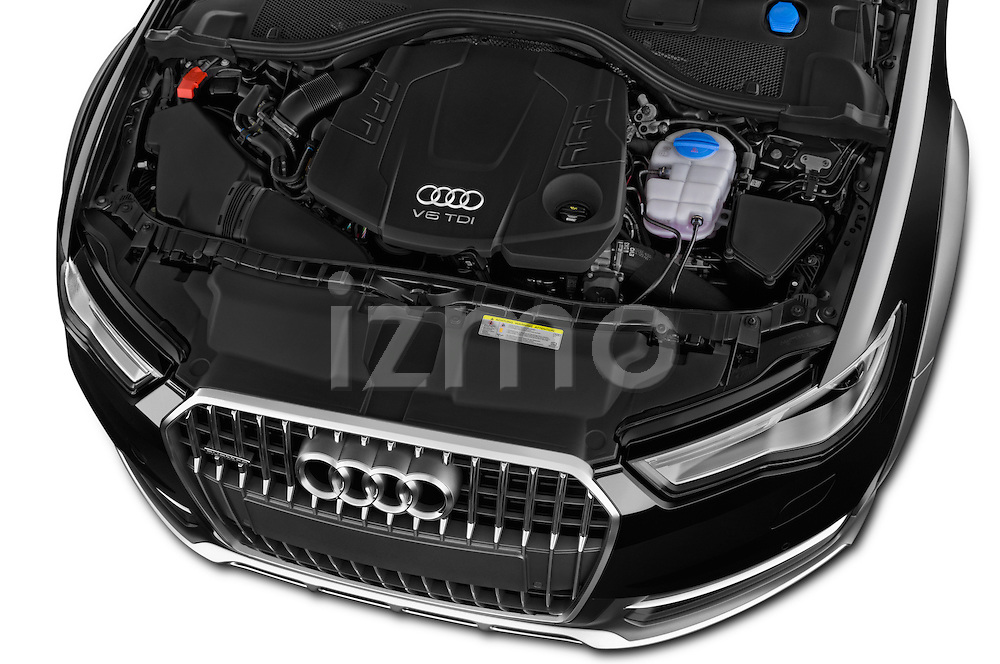 Car Stock 2015 Audi A6 Allroad Quattro - 5 Door Wagon Engine high angle detail view