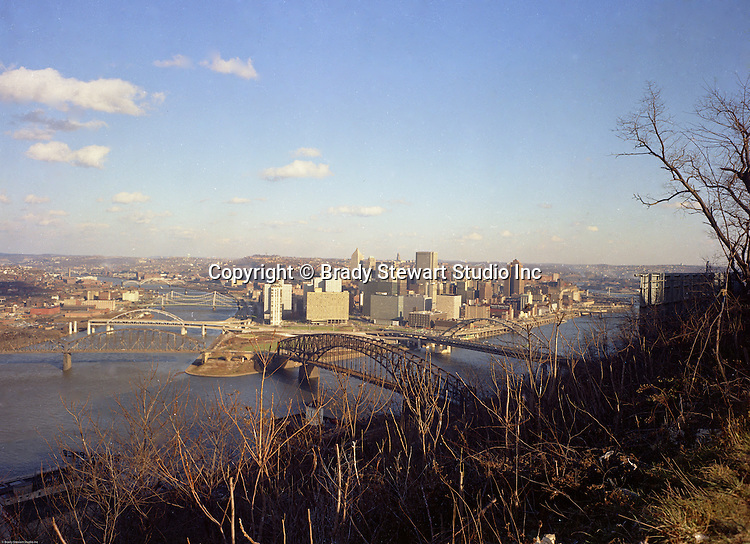 Pittsburgh PA: View of the skyline and city of Pittsburgh from Mt Washington.  Photo was taken  right after the completion of the Gateway Towers and the construction of the Allegheny Center Mall