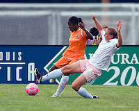 St Louis Athletica forward Christie Welsh (23) tackles the ball away from Sky Blue FC defender Anita Asante (5) during a WPS match at Anheuser-Busch Soccer Park, in St. Louis, MO, June 7, 2009. Athletica won the match 1-0.