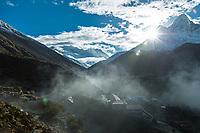 Sunrise above Ama Dablam with Mount Everest, Lhotse and Nuptse in the background, Khumbu, Nepal