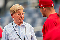 15 August 2017: Political commentator and Pulitzer Prize–winning writer, chats with players prior to a game between the Washington Nationals and the Los Angeles Angels at Nationals Park in Washington, DC. The Nationals defeated the Angels 3-1 in the first game of their 2-game series. Mandatory Credit: Ed Wolfstein Photo *** RAW (NEF) Image File Available ***