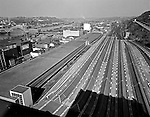 Pittsburgh PA:  View of uptown and the strip district from the roof of the Pennsylvania Railroad Pittsburgh's Penn Station.