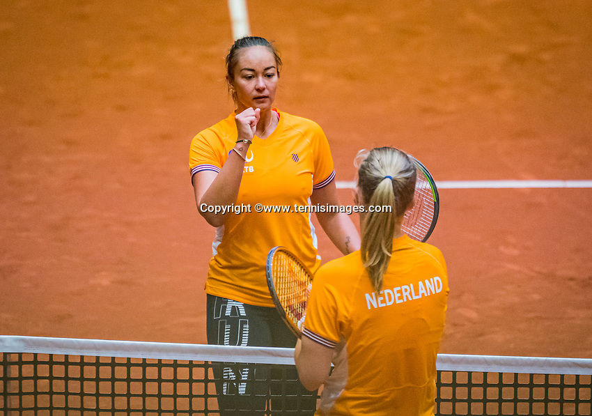 Den Bosch, The Netherlands, April 15, 2021,    Maaspoort, Billy Jean King Cup  Netherlands -  China : practice, Lesley Pattinama-Kerkhove (NED) (L) and Kiki Bertens (NED)<br /> Photo: Tennisimages/Henk Koster