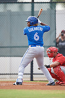 Toronto Blue Jays Vladimir Guerrero Jr. (6) at bat during an Instructional League game against the Philadelphia Phillies on September 30, 2017 at the Carpenter Complex in Clearwater, Florida.  (Mike Janes/Four Seam Images)